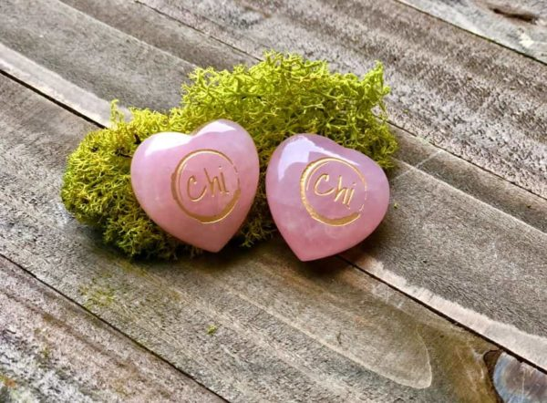 Two Rose Quartz Hearts